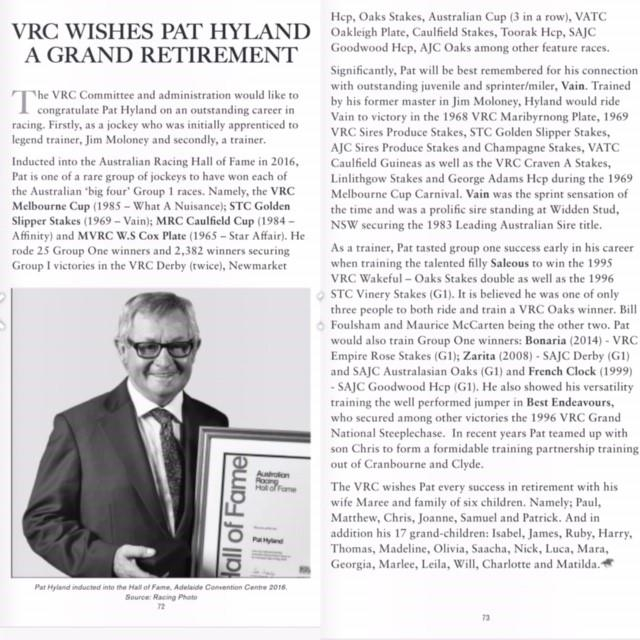 VRC and Racing wishes Legendary Pat Hyland Happy Retirement